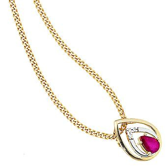 Trailer drop 585 Gold Yellow Gold 3 diamond of brilliant 1 Ruby Red