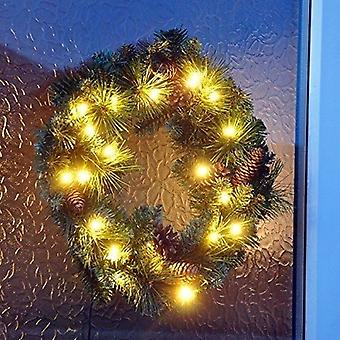 45cm Pre Lit Christmas Xmas Wreath Decoration