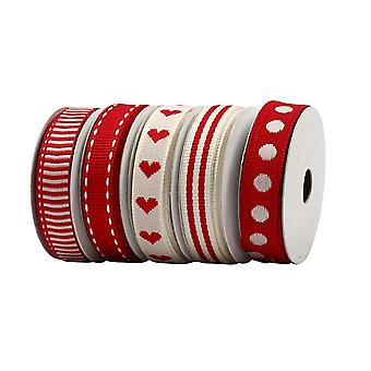 SALE - 9mm Red Country Craft Ribbon for Crafts - 5 x 2m Assortment