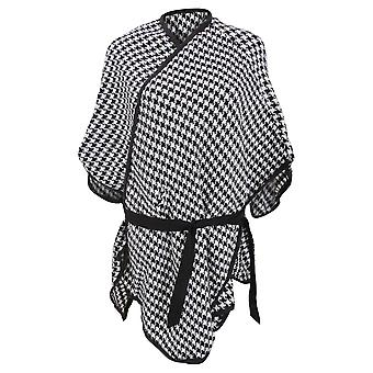 Womens/Ladies Houndstooth Pattern Winter Wrap With Waist Tie