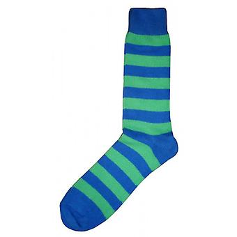 Bassin and Brown Striped Midcalf Socks - Green/Blue