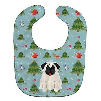 Carolines Treasures  BB4664BIB Christmas Pug Cream Baby Bib