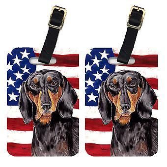 Par i USA amerikanska flaggan med Tax bagagebrickor