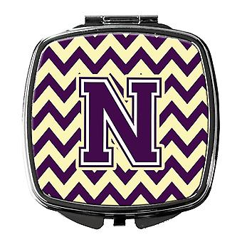 Carolines Treasures  CJ1058-NSCM Letter N Chevron Purple and Gold Compact Mirror