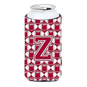 Letra Z del balompié carmesí, gris y blanco Tall Boy bebida aislador Hugger
