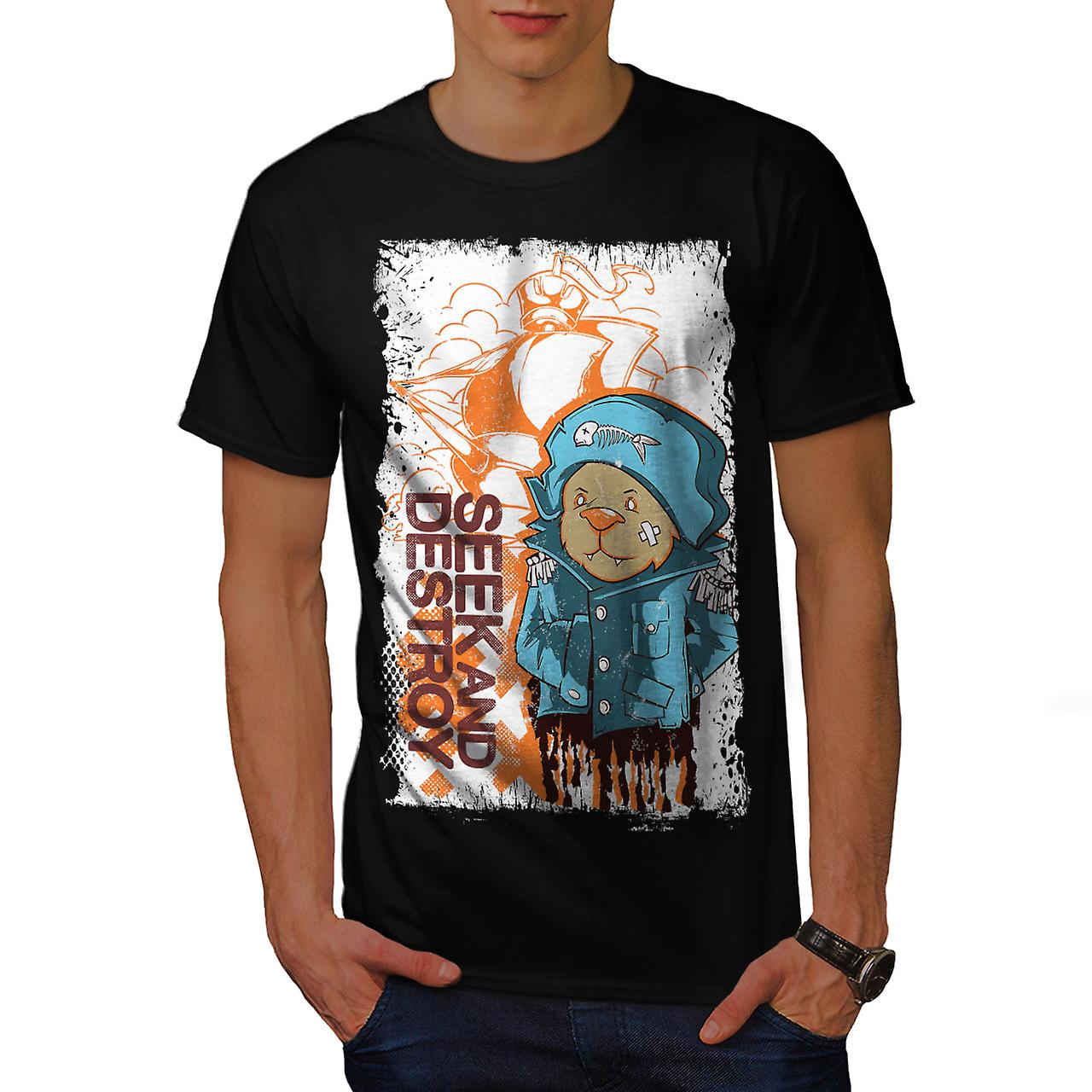 Seek Destroy Bear Animal Men Black T-shirt | Wellcoda