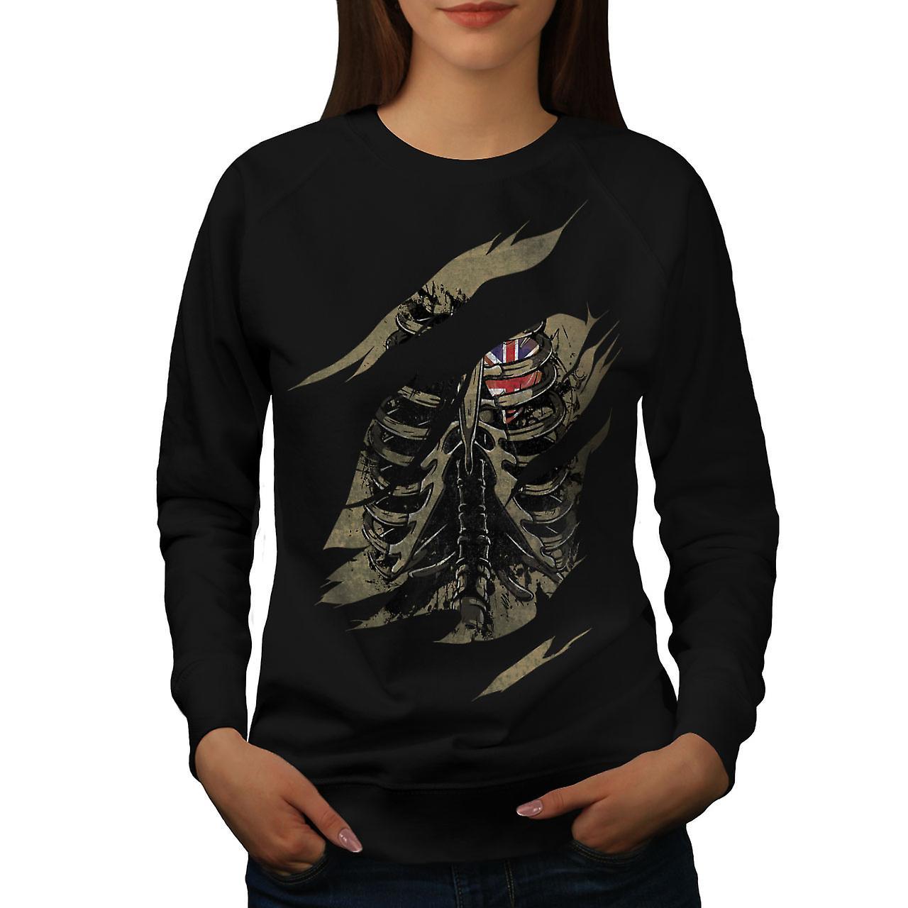 UK squelette mort femmes noirSweatshirt