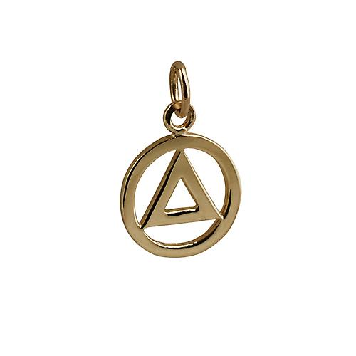 9ct Gold Alcoholics Anonymous Pendant