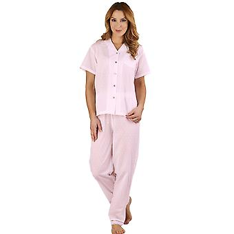 Slenderella PJ1214 Women's Dobby Dot Pink 100% Cotton Pajama Short Sleeved Pyjama Set