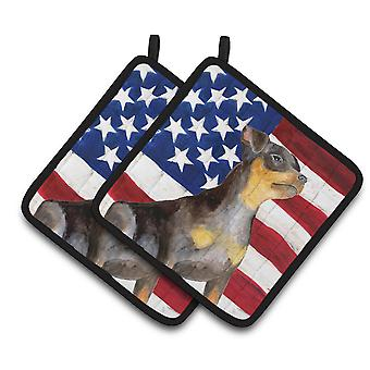 Miniature Pinscher #2 Patriotic Pair of Pot Holders