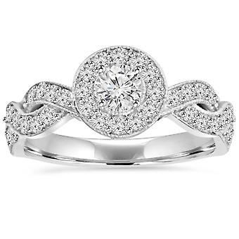 3 / 4ct Vintage diamante Infinity Halo anello di fidanzamento 14k White Gold