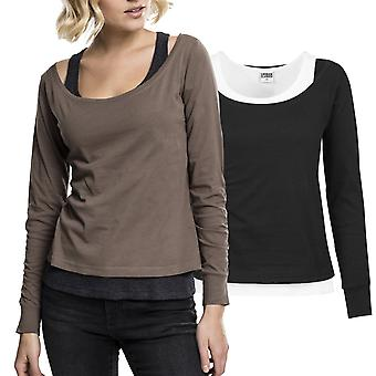 Urban classics ladies - two-colored long sleeve shirt