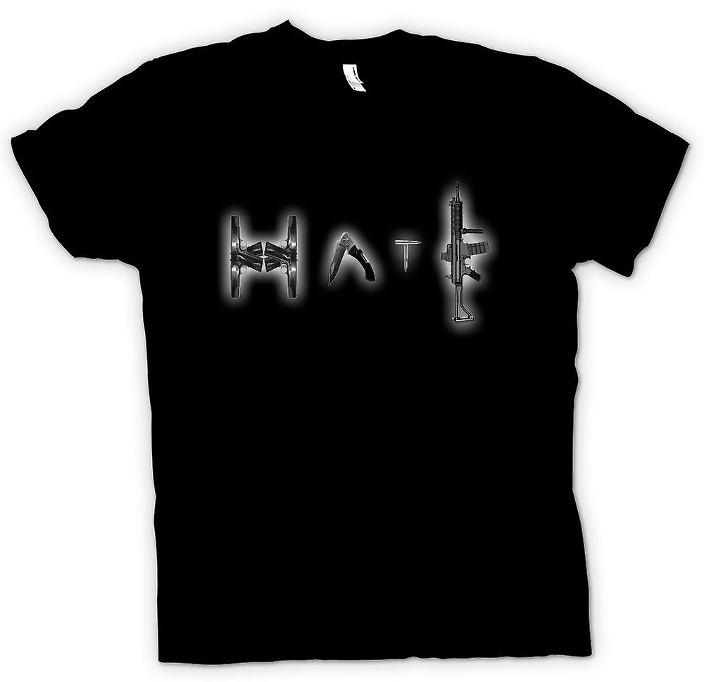 Womens T-shirt - Hate - Anti Gun & Weapon
