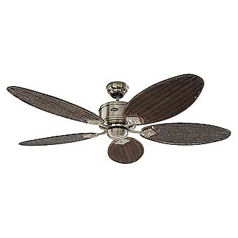DC ceiling fan Eco Elements Chrome brushed with antique cane blades and remote control