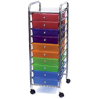 Storage Studios Home Center Rolling Cart W/10 Drawers-15.25