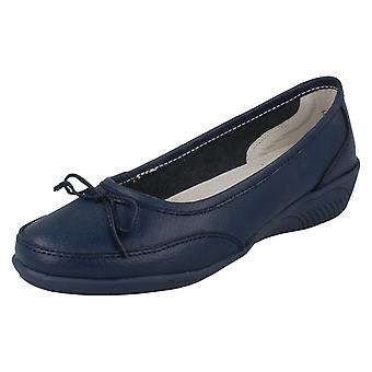 Ladies Eaze Flat Bow Vamp Casual Slip On Ballerina F3091