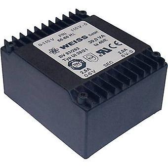 PCB mount transformer 2 x 115 V 2 x 12 V AC 30 VA 1250 mA 83/295 Weiss Elektrotechnik