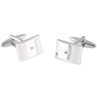 David Van Hagen Curved Rectangle Crystal Cufflinks - Silver/Clear