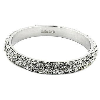 Roestvrij stalen armband Frost zilver 6 glazen blokken van rijen van witte roestvrij staal