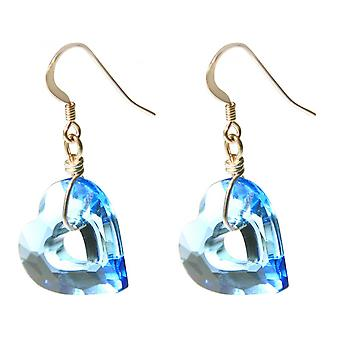 Ladies - earrings - rose gold plated - heart - open heart - blue - 3.5 cm