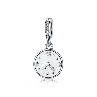 Sterling silver pendant charm Clock The happiness time
