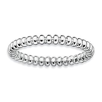 Sterling Silver Polished Patterned Rhodium-plated Stackable Expressions Rhodium Beaded Ring - Ring Size: 5 to 10