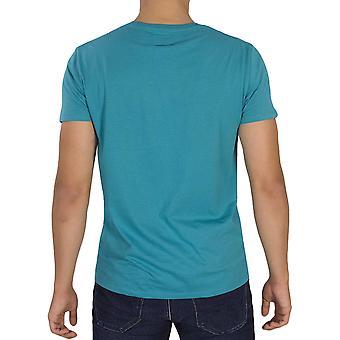 Wrangler Mens Crew Neck Short Sleeve Cotton Casual Wrangler T-Shirt Tee Top-Blue