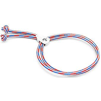 Anchor and Crew Pembroke Silver and Rope Bracelet - Red/White/Blue