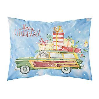 Merry Christmas Shih Tzu Puppy Cut Fabric Standard Pillowcase