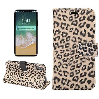 iPhone X-Geldbörse-Hülle Case Leopard-Beige