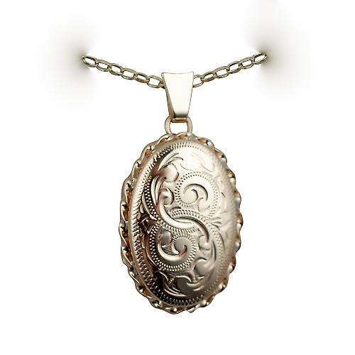 9ct Gold 23x16mm oval hand engraved twisted wire edge Locket with a belcher chain
