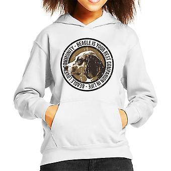 Beagle Lovers Community Badge Kid's Hooded Sweatshirt
