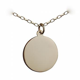 9ct Gold 19mm plain round Disc with a belcher Chain 16 inches Only Suitable for Children