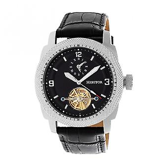 Heritor Automatic Helmsley Semi-Skeleton Leather-Band Watch - Silver/Black