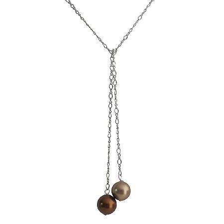 Adjustable Lariat Necklace Wedding Bronze & Brown Pearl Jewelry