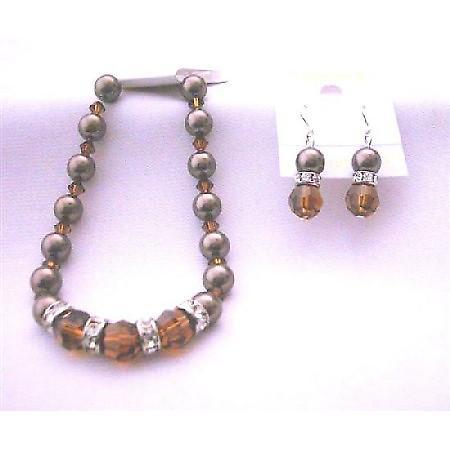 Swarovski Chocolate Brown Pearl Bracelet Earrings Genuine Swarovski Smoked Topaz Crystal & Brown Pearls
