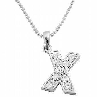 Sparkling Diamante Alphabet X Pendant Fully Embedded Pendant Necklace