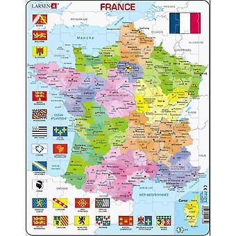 Kart over Frankrike med flagg - ramme/bord puslespill 29 cm x 37 cm (LRS A5-FR)