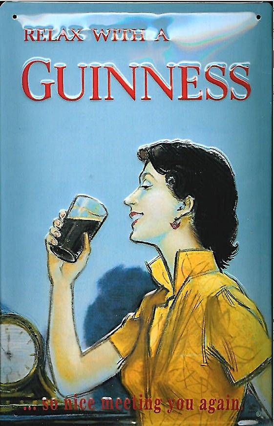 Relax With A Guinness Embossed Steel Sign (hi 3020)