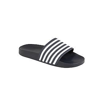 Мужская полоса контраст плоских скольжения на пляже ползунки флип-флоп сандалии Обувь мулов