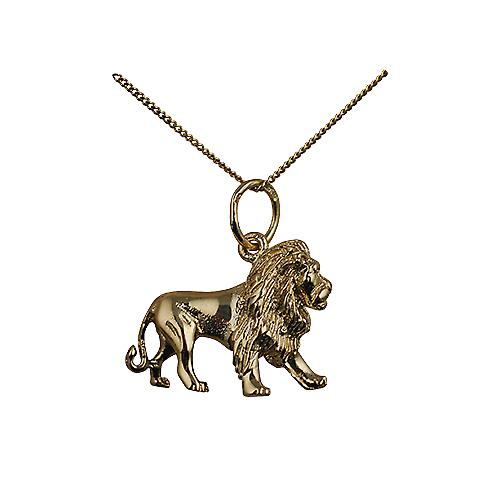 9ct Gold 15x20mm Lion Pendant with a curb Chain 16 inches Only Suitable for Children