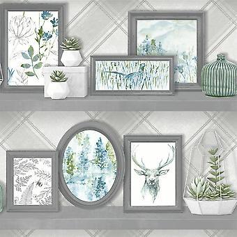Stag Frames Wallpaper Animal Print Pheasant Floral Flowers Grey Teal Holden