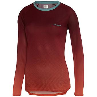 Madison Diamonds-Classy Burgundy-Coral Flux Enduro Womens Long Sleeved MTB Jerse