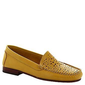Leonardo skor kvinnors handgjorda slip-on loafers genombrutna gul kalvläder