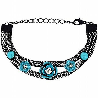 The Olivia Collection Girls-Ladies Black Mesh Bracelet with Blue Flower FJ217