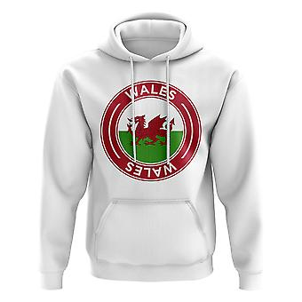 Wales Football Badge Hoodie (Weiß)