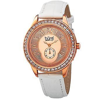 Burgi Women's Quartz Guilloche Solei Dial Geniune White Leather Strap Watch BUR144WTR