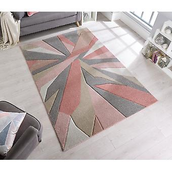 Hand Carved Shatter Dusky Pink  Rectangle Rugs Modern Rugs