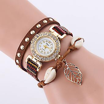 Myla Shell and Leaf Charm Wrap Watches-White