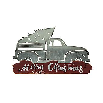 Metal Merry Christmas Vintage Truck Hauling Tree Wall Sculpture